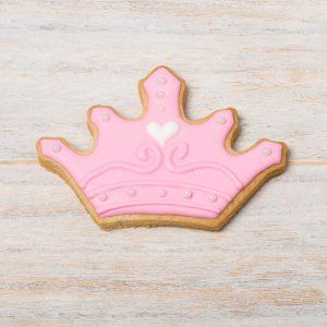 Galleta de glasa con forma de corona - color rosa