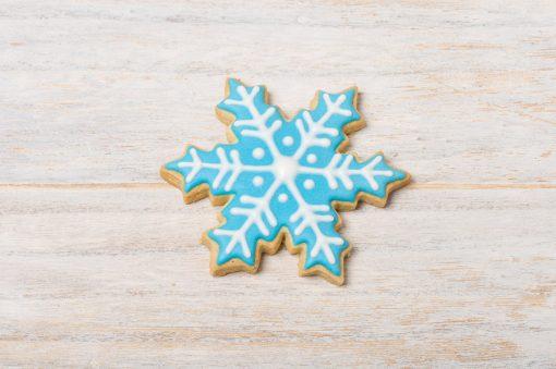 Galleta decorada copo de nieve azul
