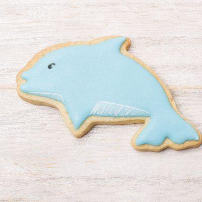 Galleta decorada glasa forma delfín