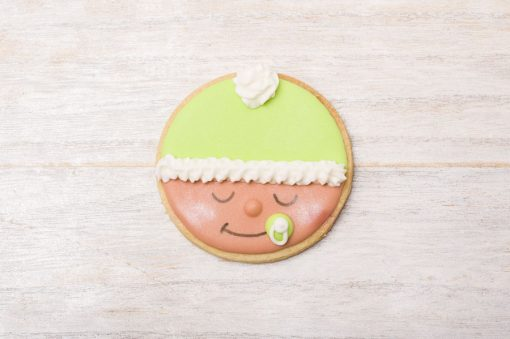 galleta decorada carita bebé verde