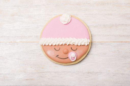 galleta decorada carita bebe rosa