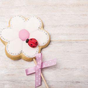galleta de glasa con forma de flor con palo