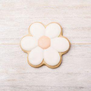 galleta de glasa con forma de flor